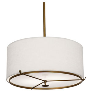 Edwin Aged Brass And Walnut Two-Light Drum Pendant