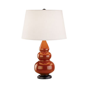 Small Triple Gourd Cinnamon and Bronze One-Light Lamp with Empire Shade