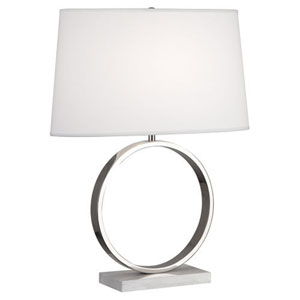 Logan Polished Nickel and White Carrara Marble One-Light Table Lamp
