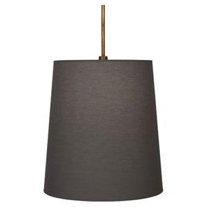 Rico Espinet Buster Aged Brass One-Light Drum Pendant with Smoke Gray Shade