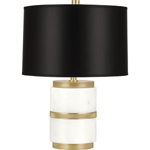 Wyatt Modern Brass One-Light 18-Inch Table Lamp with Black Shade