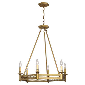 Williamsburg Tucker Antique Brass Six-Light Chandelier
