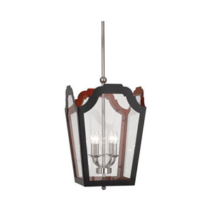 Williamsburg Tayloe Charcoal and Red 15.5-Inch Four-Light Pendant