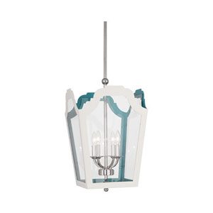 Williamsburg Tayloe White and Turquoise 15.5-Inch Four-Light Pendant