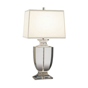 Artemis Solid Clear Crystal One-Light Table Lamp with Off-White Shade