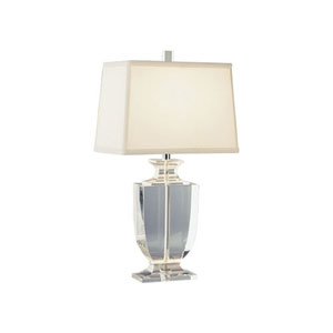 Artemis Silver Plate and Clear Crystal One-Light Lamp with Off-White Shade