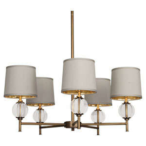 Latitude Aged Brass and Clear Glass Five-Light Chandelier