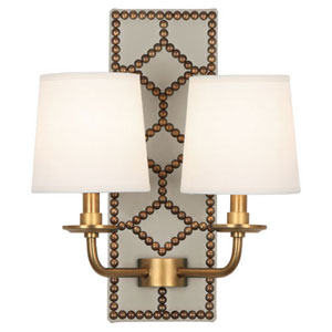 Williamsburg Lightfoot Aged Brass and Caruso Marble Two-Light Sconce