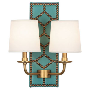 Williamsburg Lightfoot Aged Brass and Caruso Oceanic Two-Light Sconce
