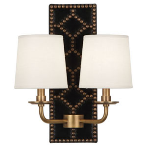 Williamsburg Lightfoot Aged Brass and Caruso Black Two-Light Sconce