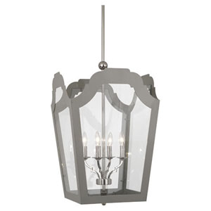 Williamsburg Tayloe Smokey Taupe and Polished Nickel 20-Inch Four-Light Chandelier