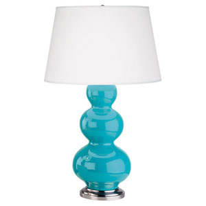 Triple Gourd Egg Blue Glaze and Antique Silver One-Light Table Lamp