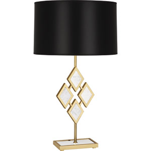 Edward Modern Brass One-Light 29-Inch Marble Table Lamp with Black Shade