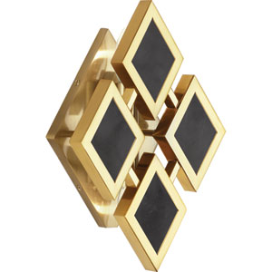 Edward Modern Brass Two-Light Black Marble Wall Sconce