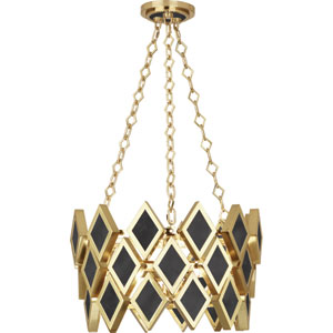 Edward Modern Brass Three-Light Black Marble Pendant