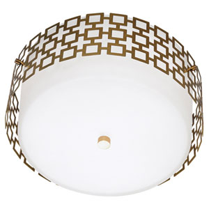 Jonathan Adler Parker Antique Brass Three-Light Flush Mount