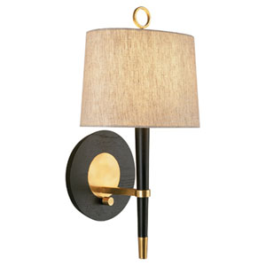 Jonathan Adler Ventana Ebony Wood and Antique Brass One-Light Sconce