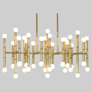 Jonathan Adler Meurice Antique Brass 42-Light Chandelier