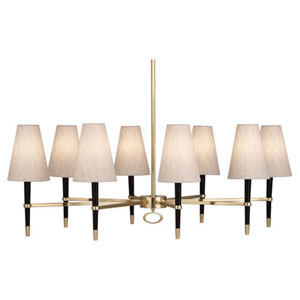 Jonathan Adler Ventana Ebony Wood and Antique Brass Eight-Light Chandelier