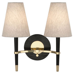 Jonathan Adler Ventana Ebonized Wood and Antique Brass Two-Light Sconce