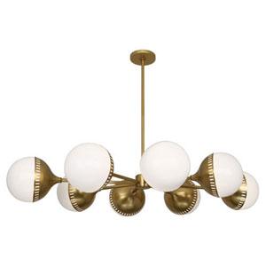 Jonathan Adler Rio Antique Brass Eight-Light Chandelier