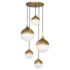 Jonathan Adler Rio Antique Brass Five-Light Pendant