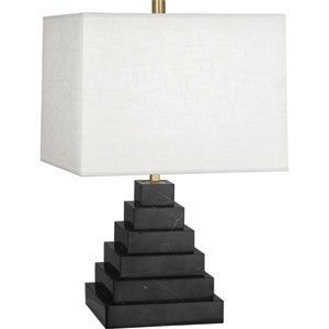 Jothan Adler Caan Black One-Light Black Marble Table Lamp with White Shade