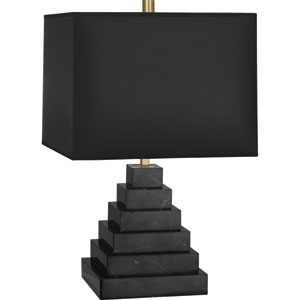 Jothan Adler Caan One-Light Black Marble Table Lamp with Black Shade