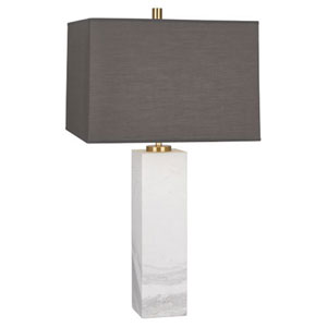 Jonathan Adler Canaan White Marble One-Light Lamp with Gray Shade