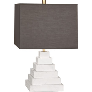 Jothan Adler Caan White One-Light White Marble Table Lamp with Smoky Shade