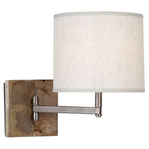 Oliver Natural Mango Wood and Patina Nickel One-Light Sconce