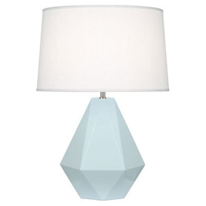 Delta Baby Blue and Polished Nickel One-Light Table Lamp