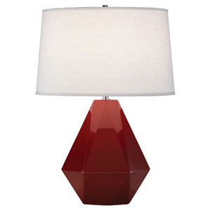 Delta Oxblood and Polished Nickel One-Light Table Lamp