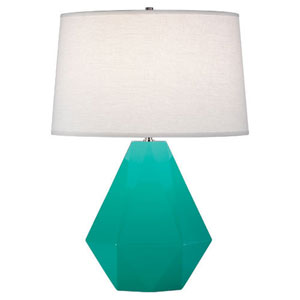 Delta Egg Blue and Polished Nickel One-Light Table Lamp