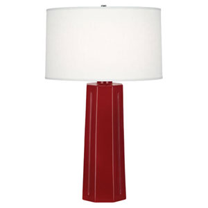 Mason Oxblood and Polished Nickel One-Light Table Lamp
