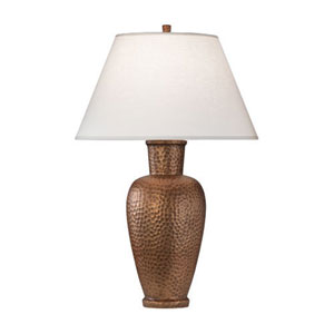 Beaux Arts New Copper One-Light Table Lamp with White Shade