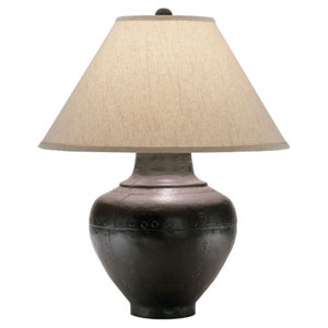Foundry Antique Rust One-Light Table Lamp with Brussels Linen Shade