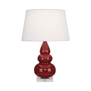 Small Triple Gourd Oxblood and Silver One-Light Table Lamp with Empire Shade