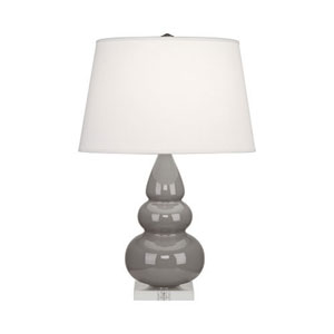 Small Triple Gourd Taupe and Acrylic One-Light Lamp with Empire Shade