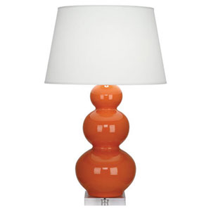 Triple Gourd Pumpkin and Silver One-Light Table Lamp with Empire Shade