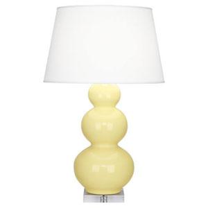 Triple Gourd Butter Glazed Ceramic One-Light Table Lamp
