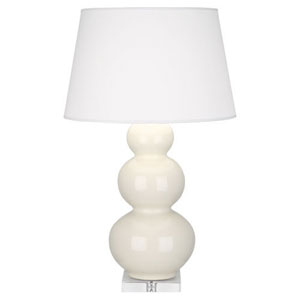 Triple Gourd Bone Glazed and Silver One-Light Table Lamp with Empire Shade