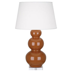 Triple Gourd Cinnamon and Silver One-Light Table Lamp with Empire Shade