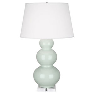Triple Gourd Celadon and Silver One-Light Table Lamp with Empire Shade