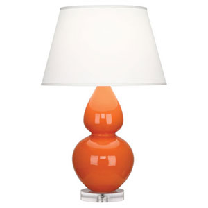 Double Gourd Pumpkin One-Light Table Lamp with Empire Shade