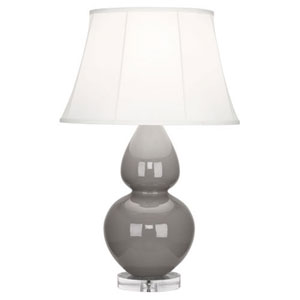 Double Gourd Smokey Taupe One-Light Table Lamp with Bell Shade