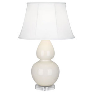 Double Gourd Bone Glazed Ceramic One-Light Table Lamp with Bell Shade