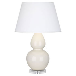 Double Gourd Bone Glazed Ceramic One-Light Table Lamp with Empire Shade