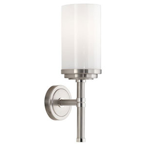 Halo Brushed and Polished Nickel One-Light Bath Sconce