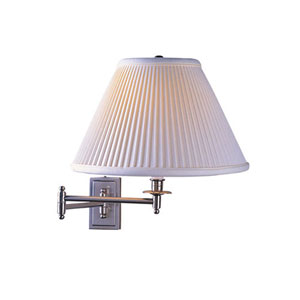 Kinetic Brushed Chrome One-Light Wall Swinger with Pleated Shade